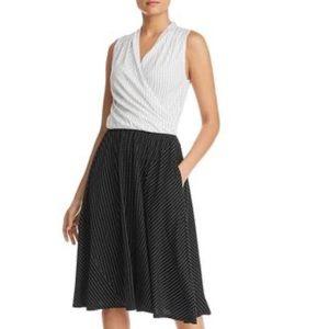 KENNETH COLE POLKA DOT FAUX WRAP DRESS BLACK WHITE